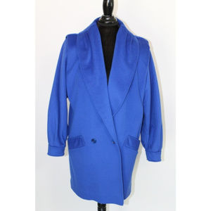 Vintage Cobalt Blue Wool Lined Overcoat